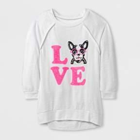 Miss Chievous Girls' 3/4 Sleeve Sweatshirt - White