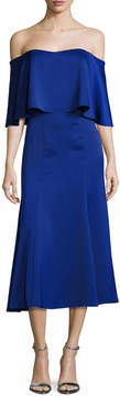Camilla And Marc Ruffle Fit and Flare Cocktail Dress, Cobalt