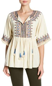 Velvet by Graham & Spencer Dahlia Embroidered Tassel Blouse