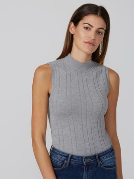 Frank and Oak Cotton-Wool Sleeveless Mockneck Sweater in Ash