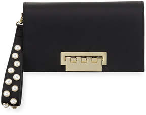 Zac Posen Earthette Leather Wristlet Clutch Bag with Pearly Studs