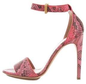 Calvin Klein Collection Pink Embossed Leather Sandals