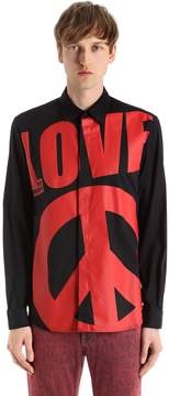 Love Moschino Macro Logo Stretch Cotton Poplin Shirt