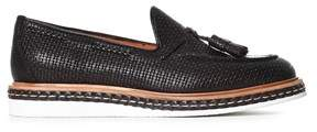 Santoni Men's Black Leather Loafers.