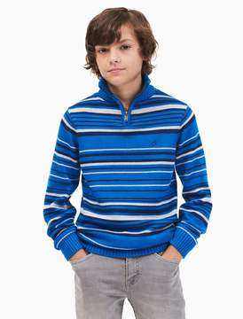 Calvin Klein boys striped quarter zip sweater