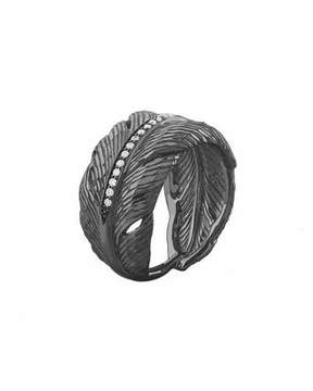 Michael Aram Rhodium-Plated Diamond Feather Band Ring