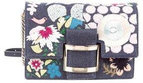 Roger Vivier Micro Viv Raffia Flowers Bag