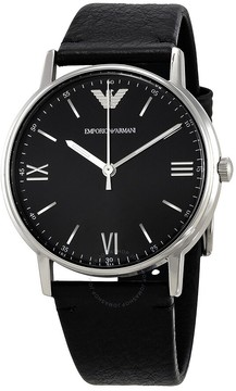 Giorgio Armani Black Dial Men's Leather Watch