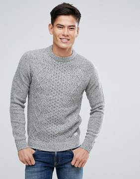 Jack Wills Ditteridge Donegal Cable Knit Sweater In Gray Marl