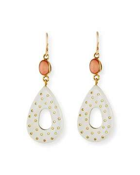 Ashley Pittman Bendi Light Horn & Coral Teardrop Earrings