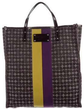 Kate Spade Leather-Trimmed Jacquard Tote - BLACK - STYLE