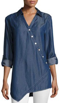 Go Silk Denim Asymmetric Button-Detail Shirt
