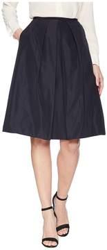 Jil Sander Navy A-Line Faille Skirt with Front Pleat Women's Skirt