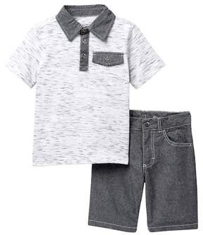 Calvin Klein Polo & Chambray Shorts Set (Little Boys)