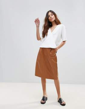 French Connection Patrice Pleather A-Line Skirt