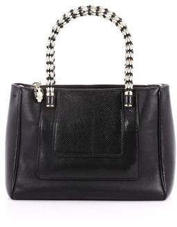 Bvlgari Pre-owned: Serpenti Double Zip Tote Leather And Python Small.