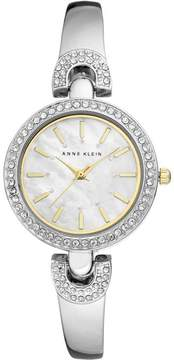 Anne Klein Crystal-Accented Silvertone Pavé Detail Semi-Bangle Bracelet Watch