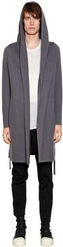 Rick Owens Hooded Cashmere Knit Cardigan W/ Belt