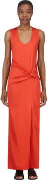 Cédric Charlier Orange Twisted Knot Maxi Dress