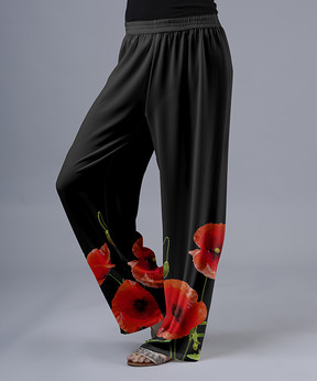Lily Red & Black Floral Palazzo Pants - Women & Plus