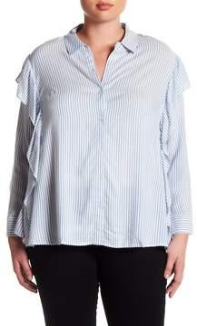 Daniel Rainn DR2 by Striped Ruffle Button Down (Plus Size)