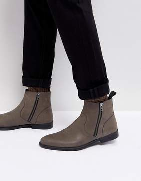 Asos Chelsea Boots In Gray Leather With Distressed Sole