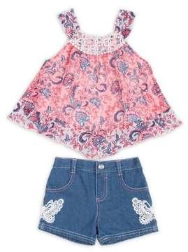 Little Lass Little Girl's Two-Piece Printed Top and Denim Shorts Set