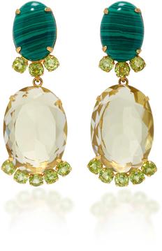 Bounkit Lemon Quartz and Peridot Two-Way Earrings