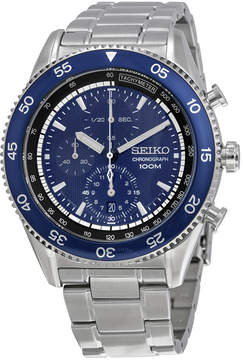 Seiko Chronograph Blue Dial Stainless Steel Men's Watch