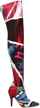 Moschino 100mm Editorial Printed Neoprene Boots