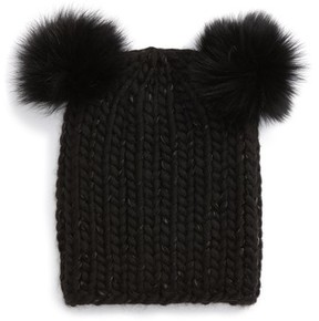 Eugenia Kim Women's Mimi Beanie With Genuine Fox Fur Pompoms - Black