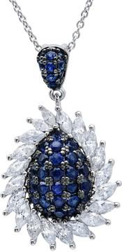 Crislu Midnight Blue CZ Teardrop & Marquise Cut Halo Pendant Necklace