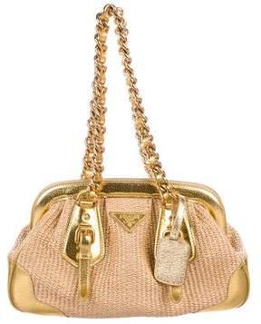 Prada Leather-Trimmed Straw Shoulder Bag