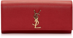Saint Laurent Lipstick Red Classic Monogram Clutch - RED - STYLE