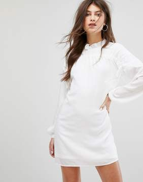 Fashion Union Long Sleeve Smock Dress With Ribbon Tie Gathers