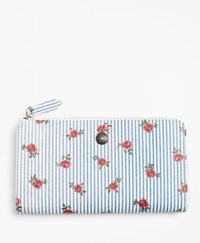 Brooks Brothers Rose-Print Striped Saffiano Leather Wallet