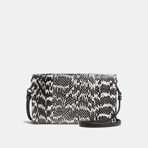 COACH Coach Foldover Crossbody Clutch In Snakeskin - DARK GUNMETAL/CHALK - STYLE