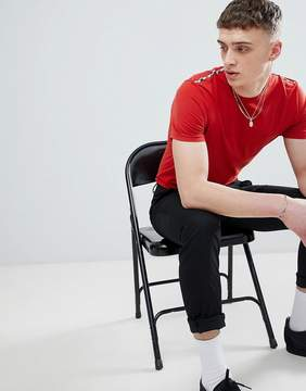 Aquascutum London Southport Check Shoulder T-Shirt In Red