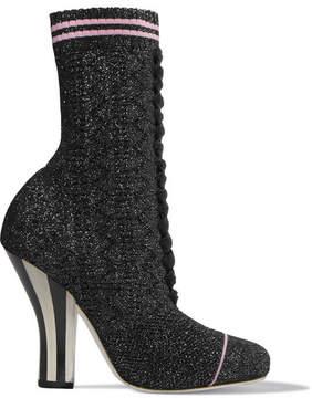 Fendi Metallic Stretch-knit Sock Boots - Black