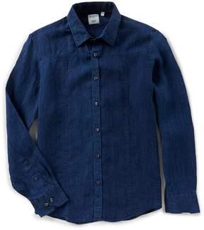 Murano Baird McNutt Linen Long Sleeve Slim Indigo Shirt