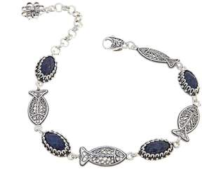 Lapis Ottoman Silver Collection Ottoman Silver Jewelry Collection Filigree Fish Station 7-1/4 Bracelet