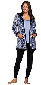 Carole Hochman As Is Micro Fleece Winter Print 3-Piece Pajama Set