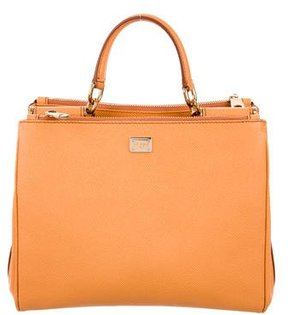 Dolce & Gabbana Leather Shopping Tote - ORANGE - STYLE