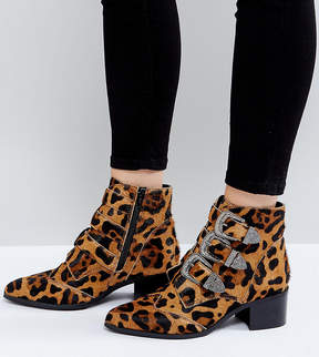 Asos RELIEVE Wide Fit Leopard Buckle Leather Ankle Boots