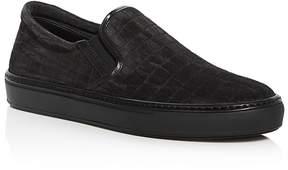 Giorgio Armani Men's Croc Embossed Suede Slip-On Sneakers
