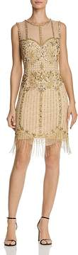 Aidan Mattox Sleeveless Beaded-Fringe Dress