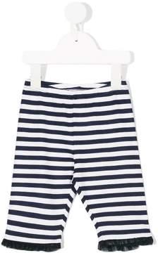 Miss Blumarine frill trim striped leggings