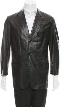 Salvatore Ferragamo Three-Button Leather Blazer