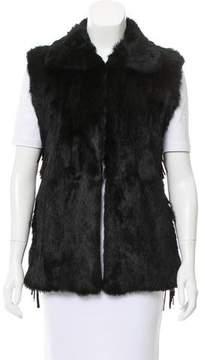 RtA Denim Fringe-Trimmed Fur Vest