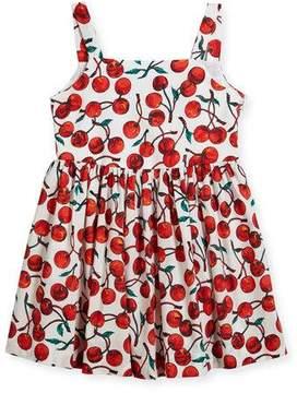 Milly Minis Emaline Cherry-Print Dress, Size 4-7